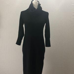 Talbots Black Cowl Neck Wool Sweater Dress Size XS